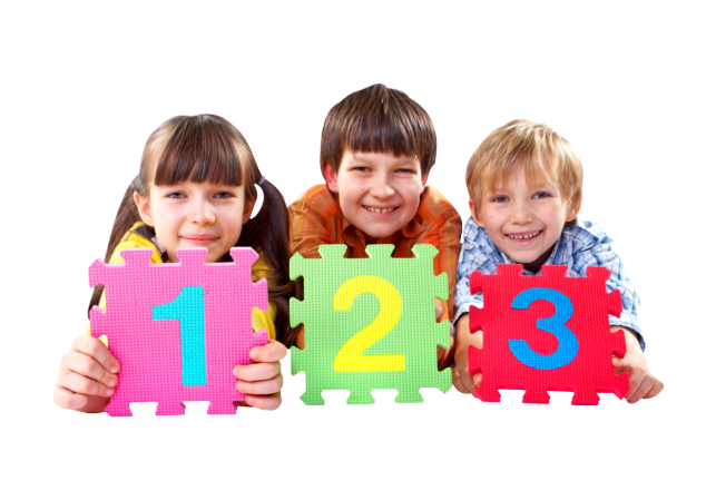 Three kids playing numbers